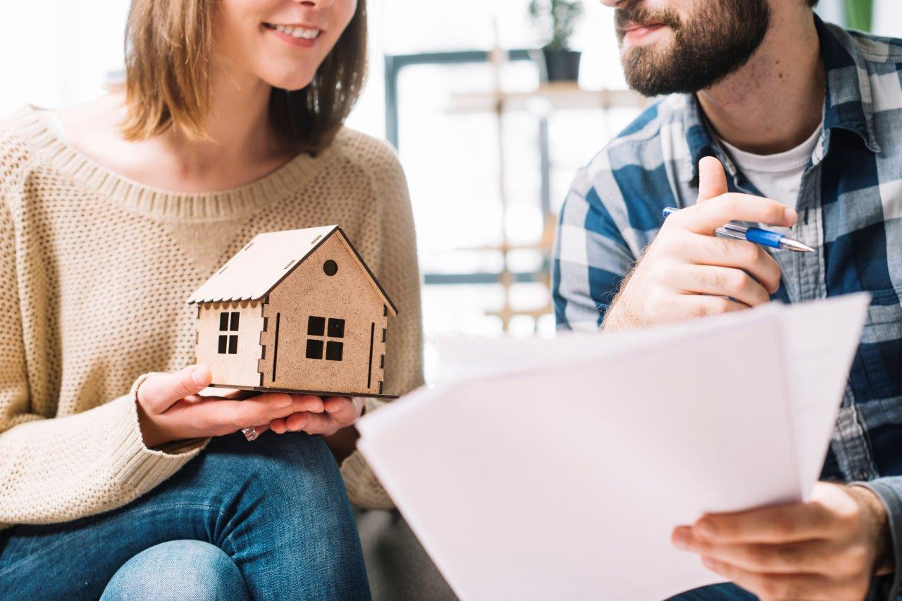 couple going over real estate contract