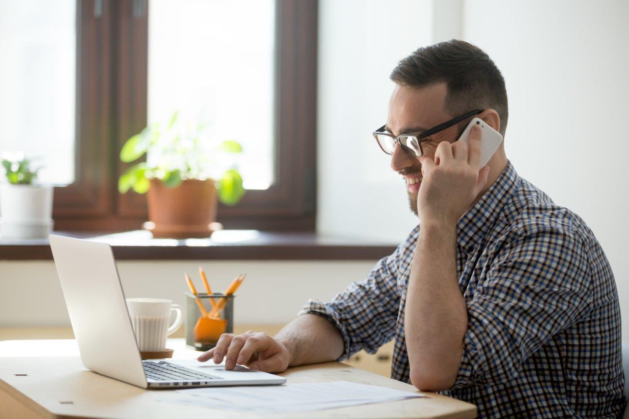 man making calls